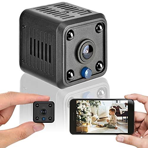 Mini cámara de vigilancia 1080P cámara HD, detección de Movimiento inalámbrica infrarroja visión Nocturna WiFi cámara de niñera magnética, Mini cámara de vigilancia para Oficina en casa (Negro