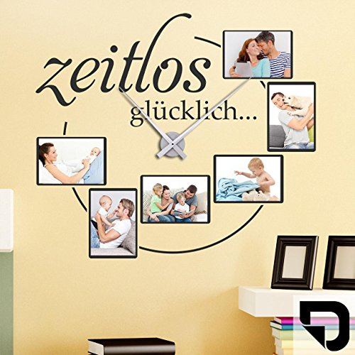 DESIGNSCAPE® Wandtattoo Fotorahmen Uhr Zeitlos glücklich, Wanduhr mit selbstklebenden Bilderrahmen 60 x 53 cm (B x H) schwarz inkl. Uhrwerk silber, Umlauf 44cm DW807229-M-F4-SI