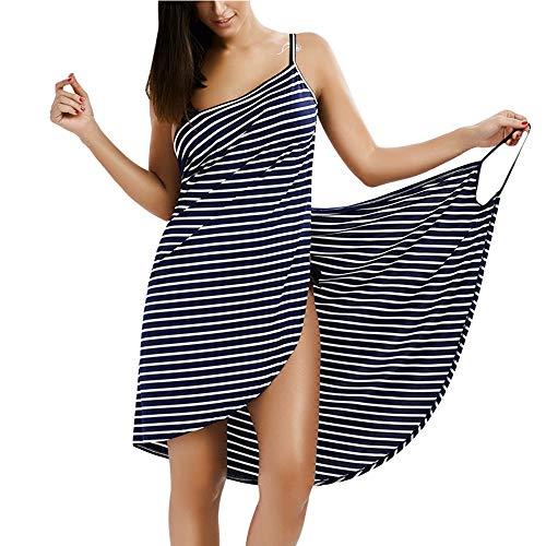mama stadt Strandkleider Große Größen Damen Bikini Cover Up Rückenfrei Schürzenkleid Streifen Sommerkleid Midi Strandtuch Wickeltuch in Urlaub/XL=EU40-42