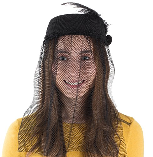 Tigerdoe Pillbox Hat - Funeral Hats for Women - Hat with Veil - Widow Hat with Veil - Vintage Hats for Women Black