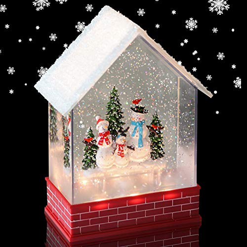 Eldnacele Musical Snow Globe House with Timer, Lighted USB/Battery Operated Swirling Singing Water Glittering Lantern, Christmas Snow Globes House Holiday Festival Decoration- Snowman