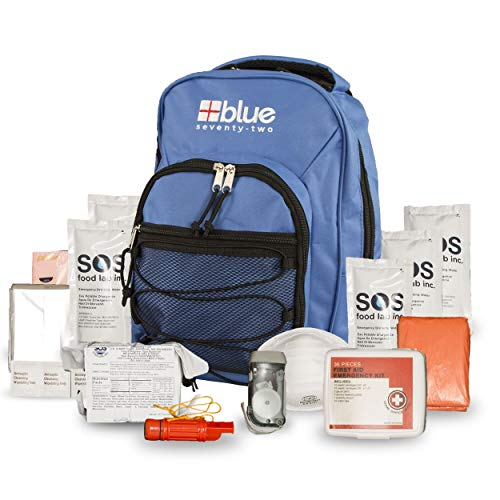 Blue Coolers Blue Seventy-Two Hour Emergency Backpack Survival Kit for 1 Person