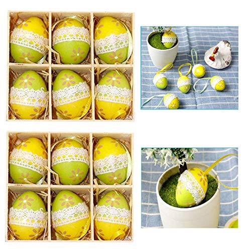 kaishuai-12 Huevo de Pascua,Colorida Decoración de Pascua, Huevos de Pascua Manualidades,Shatterproof Balls,Plásticos Decorativos Colgantes para Pascua,baubles.