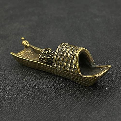 YANJ Quemador de Incienso de Barco pequeño de Cobre Vintage Té de Oro Antiguo Adornos para Mascotas Barco de Pesca de latón Pájaro Ceremonia del té Artesanía Bonsai Micro Paisaje Decoración