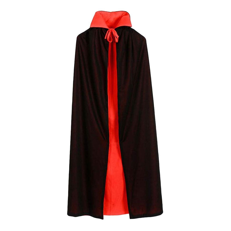 発火する与える動かないToyvian ヴァンパイアマント二重層黒と赤のフード付きマントヴァンパイアコスチュームコスプレケープは男の子と女の子のためにドレスアップ(90cmストレートカラーダブルマント)