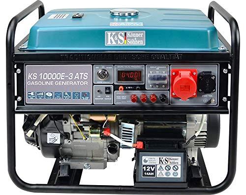 Könner & Söhnen KS 10000E-3 ATS - 4-Takt Benzin Stromerzeuger 18 PS mit E-Start, Notstromautomatik, Automatischer Spannungsregler 1x16A (400V/230V) Generator für privaten oder gewerblichen Gebrauch