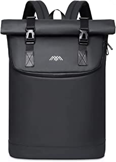 Mochila enrollable para portátil con puerto de carga USB y compartimento para portátil de 17 pulgadas, resistente al agua, para carpetas DIN A4