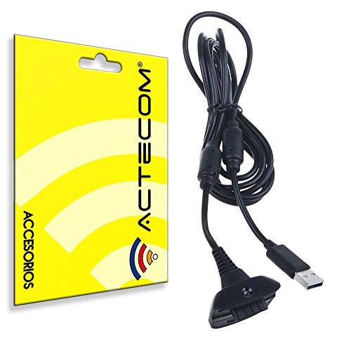 ACTECOM CABLE USB CARGADOR para Mando Inalámbrico de la XBOX 360 2291G...