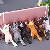 ECMQS Süß Katze Handy, Mobiltelefon Telefon Halter Stand mit Sucker, Tablets Smartphone Halter, zufällige Farbe (6 Stück)