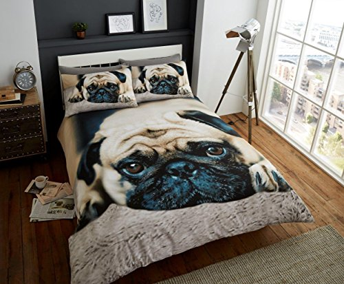 New Luxury Premium Sweet Pug designs Printed Duvet Covers Double Bed Size Quilt Cover Set +2 Pillow case UK Bedding