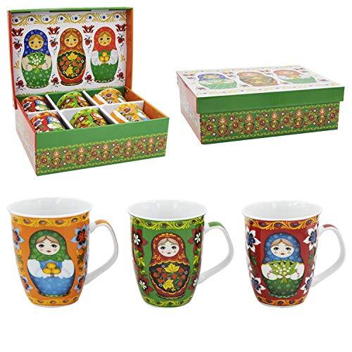Olymp 6 Tassen Set Kaffeebecher Matjoschka Matröschka 330ml Geschenkbox
