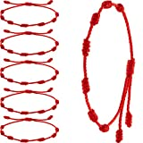 6 Pieces Summer String Bracelets Red Bracelet Red Cord Bracelet Adjustable Kabbalah Red Knot String Bracelet Amulet for Protection, Evil Eye and Good Luck for Friendship Family Presents, 7 Knots Style