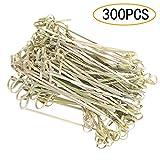 Palillos de cóctel 300 piezas de varillas de cóctel con forma de nudo de flores de bambú, palillos de dientes de palillos de bambú para cóctel, barbacoa, fiesta, bandeja decorativa de 12 cm