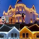 Luci natale esterno cascata 10 metri, KITASST 400 LED cascata luci catena luminosa con telecomando 11 modalità bianco caldo e freddo tende luminosa, per feste, casa, Natale, finestra, matrimonio