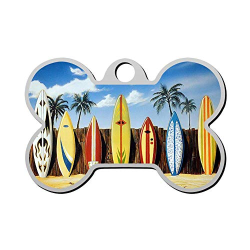 Custom Palm Tree Beach Surfboard Pet ID Tag Bone Shape Dog Tags & Cat Tags Identity Tags