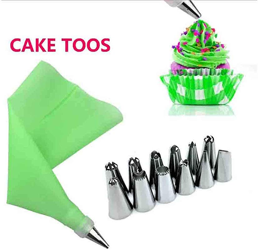 MelysUS 14pcs Set Practical Kitchen Baking Cake Decorating Supplies Kits 12 Stainless Steel Cake Icing Piping Tip 1 Reusable Silicone Pastry Bags 1 Converter