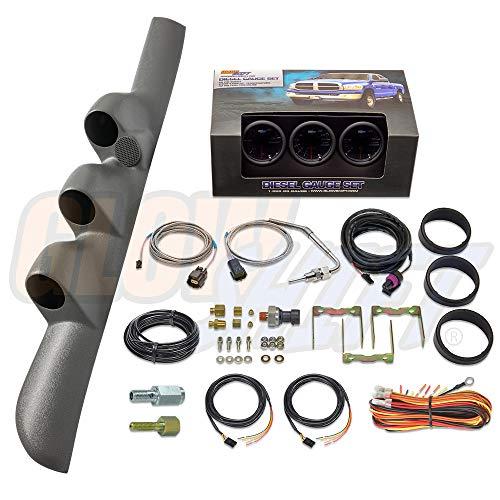 GlowShift Diesel Gauge Package for 1998-2002 Dodge Ram Cummins 1500 2500 3500 - Tinted 7 Color 60 PSI Boost, 2400 Pyrometer EGT & 30 PSI Fuel Pressure Gauges - Gray Triple Pillar Pod w Speaker Cutout