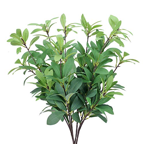 HO2NLE Artificial Greenery Stems 4Pcs Fake Eucalyptus Bouquet 64cm Long Silk Silver Dollar Leaves Bushes Floral Greenery Stems for Home Party Wedding Office Shop Indoor Decoration