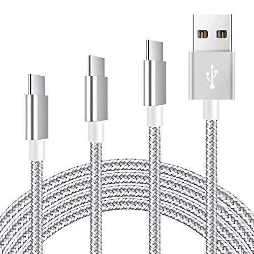 Mitesbony Cable USB C a USB A 2.0[3Pack 3ft 6ft 10ft] Cargador USB Tipo C de Nylon Duradero Carga Rápida para Samsung Galaxy S9/ S8,Huawei P10/ P9,Sony Xperia XZ,Google Pixel,Macbook(Gris Argenté)