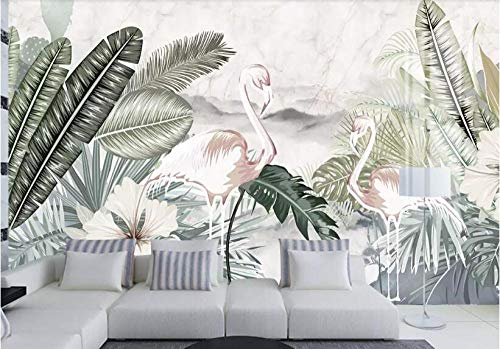 Custom Size Plant Flower Geometry Reed Flying Bird Leaf Retro tv Background Wall Painting Wallpaper Green Plant Speedcoming x1124-200x140cm/79'x 55'