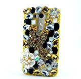 LU2000 LG K7 Case, LG Tribute 5 Case, 3D Crystals Diamond Sparkle Jeweled [Cross Series] Bling Phone Snap-on Hard Case Cover for LG K7/Tribute 5 Verizon Sprint T-Mobile - Cross Flowers- White