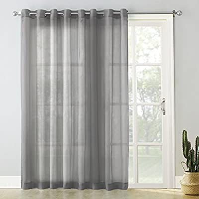 """No. 918 Emily Extra-Wide Sheer Voile Sliding Patio Door Curtain Panel, 100"""" x 84"""", Charcoal Gray"""
