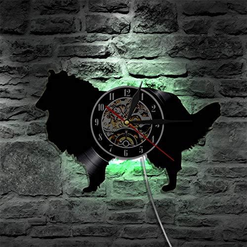 ZZLLL Pastor Perro casa de Perro Mascota Disco de Vinilo Reloj de Pared Animal Creativo Colgante de Pared Artista decoración del hogar Reloj-con LED