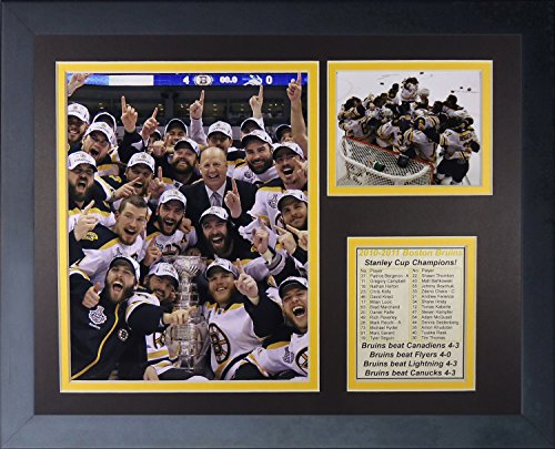 "2011 Boston Bruins Champions - Celebration 11"" X 14"" Framed Photo Collage by Legends Never Die, Inc"