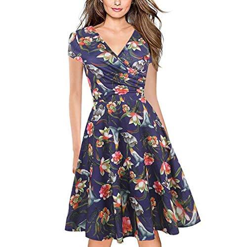 Damen Kleider Sommer V Ausschnitt Kurzarm Weste Sexy Strandkleid Jeanskleid Kleid Große Größe Kleid Polyester Blumen Bedruckt Abendkleid Cocktailkleid (EU:36, Blau)