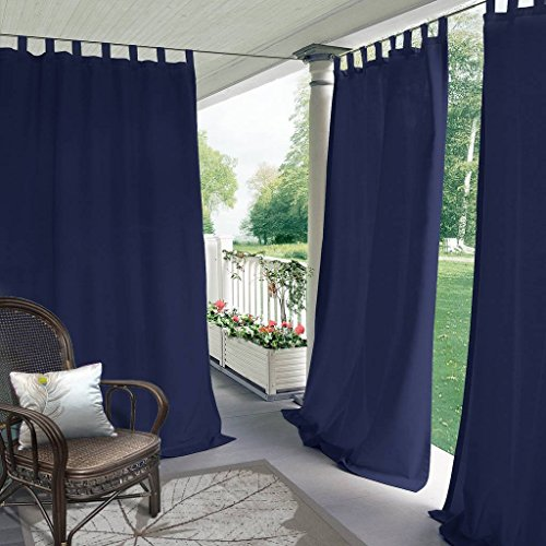 """ChadMade Blackout Outdoor Curtain Tab Top Navy 150"""" W x 102"""" L for Front Porch, Pergola, Cabana, Covered Patio, Gazebo, Dock, and Beach Home (1 Panel)"""