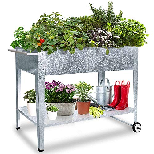 FOYUEE Raised Planter Box with Legs Outdoor Standing Elevated Garden Bed On Wheels for Vegetables Herb Patio Apartment, Galvanized
