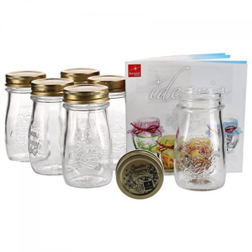MamboCat 6er Set Quattro Stagioni Flasche 0,20l incl. Bormioli Rezeptheft - als Saft Smoothie Getränke Fläschchen, zur Dekoration oder als Einmachglas, Vorratsglas