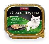 Comida para gatos animonda Vom Feinsten Adult, comida húmeda para gatos adultos, relleno gourmet con vacuno, filete de salmón + espinacas, 32 x 100 g