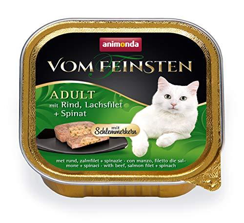 animonda Vom Feinsten Adult Katzenfutter, Nassfutter für ausgewachsene Katzen, Schlemmerkern mit Rind, Lachsfilet + Spinat, 32 x 100 g