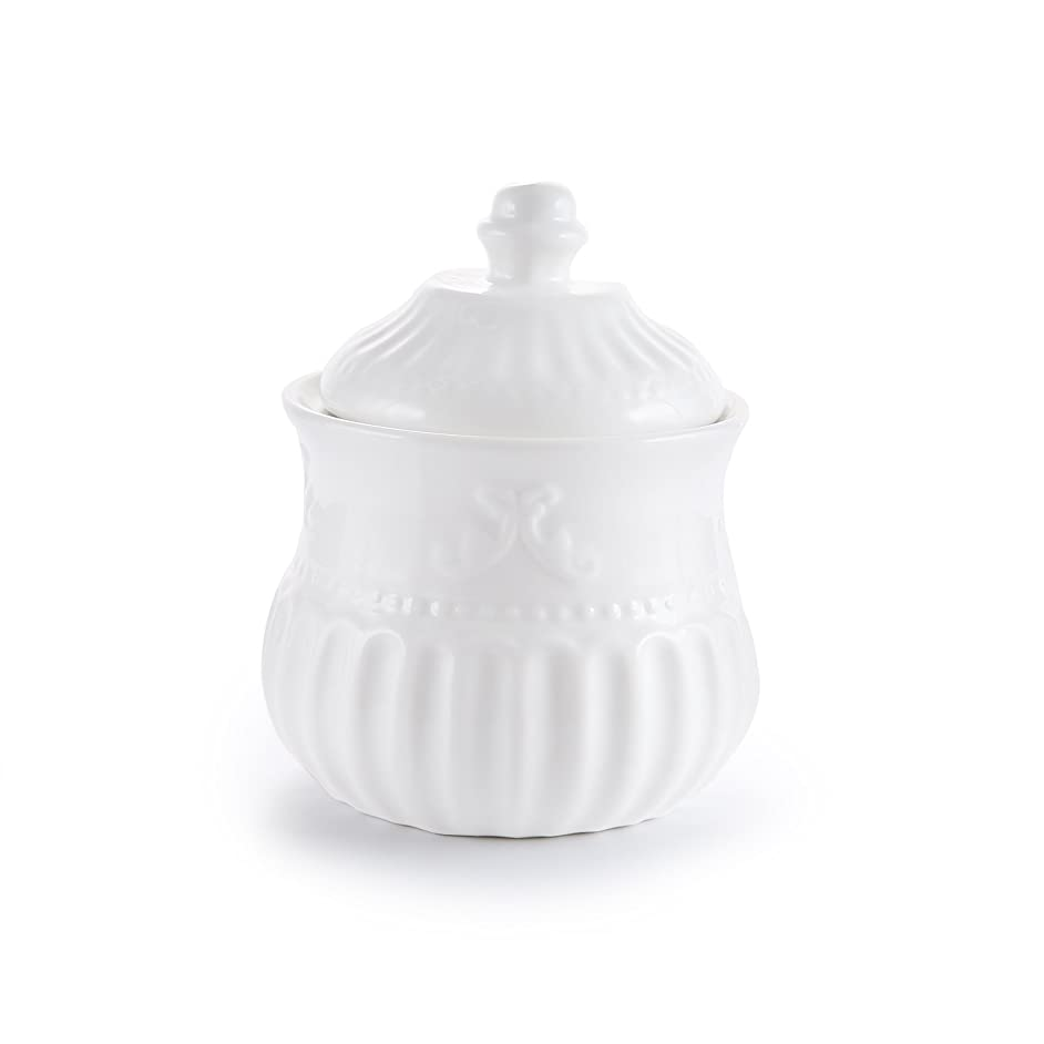Porcelain Sugar Bowl with Lid Carved Stripe, 12-Ounce,White