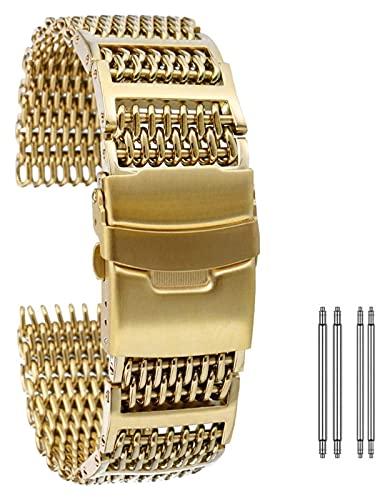 FETTR Correa de reloj universal de acero inoxidable de 20 mm, 22 mm, 24 mm, oro, oro rosa, azul, correa de repuesto con cierre plegable con pulsera de seguridad (color dorado, tamaño: 24 mm)