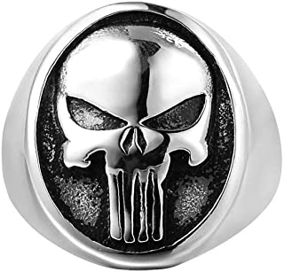 Gothic Mens Punk Biker Ring, Retro Punisher Skull Rings Viking Stainless Steel Rings Jewelry for Party