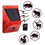 Luz Estroboscópica Solar Con Control Remoto Detector De Movimiento Luz De Alarma Solar Ip65 Impermeable 129db Luz De Sonido Alertor Lámpara De Alarma De Seguridad Para Granja Granero Patio Jardín