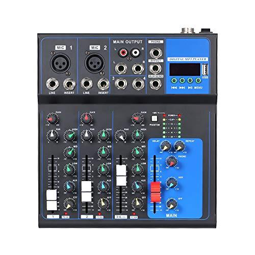 Entweg Consola de mezcla de sonido, consola de mezcla de grabación multifunción de alta calidad, alojamiento de reuniones de 4 canales, consola de mezcla vocal