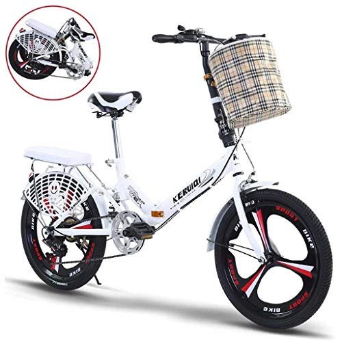 For Sale! GUOE-YKGM 20in Women's Folding Bike Hybrid Bikes 6 Speed White Bicycle Urban Commuter with...