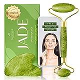 Gua Sha y Rodillo de Jade Masajeador Facial - Jade Roller and Gua Sha Facial - Rodillo Jade Autentico Masajeador de Ojos