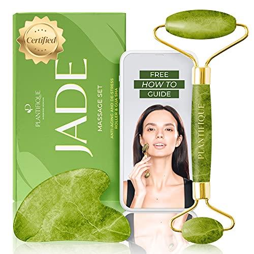 Gua Sha et Rouleau de Jade pour Massage Visage - Rouleau de...