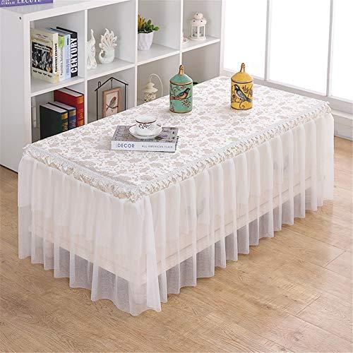 YFFS - Falda de mesa rectangular plisada de poliéster, color blanco, para boda, cumpleaños, fiesta, banquete, decoración de eventos de catering, 1 pieza, J, 60*130*40 CM