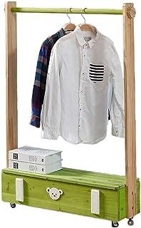 Porte manteau Porte-manteau en bois massif pour enfants, Armoire de rangement à vêtements au sol avec roues, Cintre de cha...