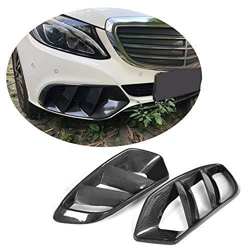 MCARCAR KIT Front Mesh Grill Vent fits Mercedes Benz C Class W205 C180 C200 C250 C300 C400 Base Sedan 2015-2018 Carbon Fiber CF Bumper Fog Lamp Intake Grille Outlet Canard Fender Scoop(Carbon Fiber)