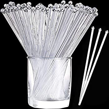 Aboat 120 Pieces 7.3 Inch Plastic Round Top Swizzle Sticks Crystal