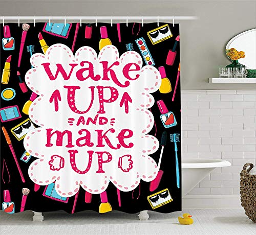 ruichangshichengjie Quote Shower Curtain, Witty Saying Wake Up Make Up with Cosmetic Icons Lipstick...