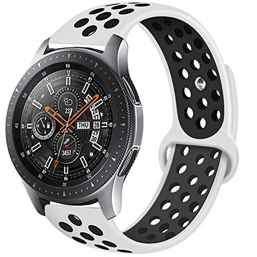 Compatible Samsung Gear S3 Frontier/Samsung Galaxy Watch 46mm Bands,22mm Silicone Breathable Replacement Strap Quick-Release Pin for Gear S3 Frontier Smart Watch (White-Black)