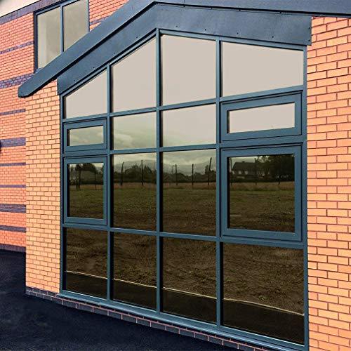 KINLO 75x300cm verspiegelte Folie Sonnenschutz selbstklebend Fensterfolie Sichtschutz und Hitzeschutz Sichtschutzfolie Spiegelfolie für Fenster Dunkel Kaffe