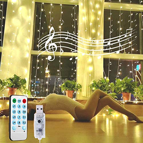 Cortina de luces LED, GLURIZ 3 * 3M 300LED Luz led, Lámpara lluminación de decoración para ventanas, fiestas, bodas y navidad (Tira Control de Voz Blanco Cálido)